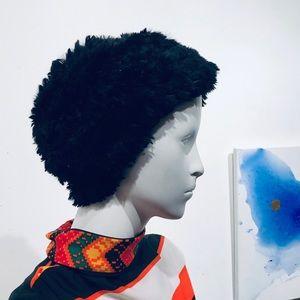 Funky Black Open Weave Chenille Stretch Beanie Hat